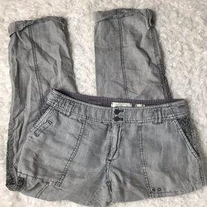 Anthropologie Hei Hei Linen Lace Crop Pants